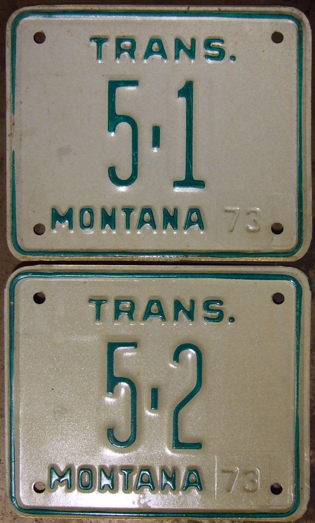 MONTANA 1973 TRANSPORTER LICENSE PLATES 51 and 52  Flickr