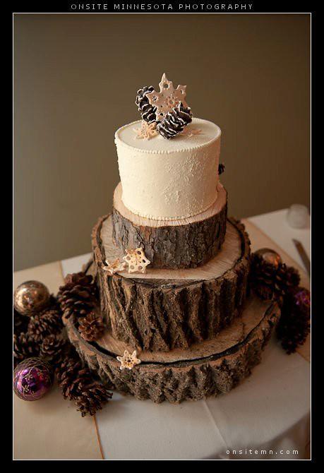 Winter Wedding Cake With Edible Snowflakes Amp Pine Cones