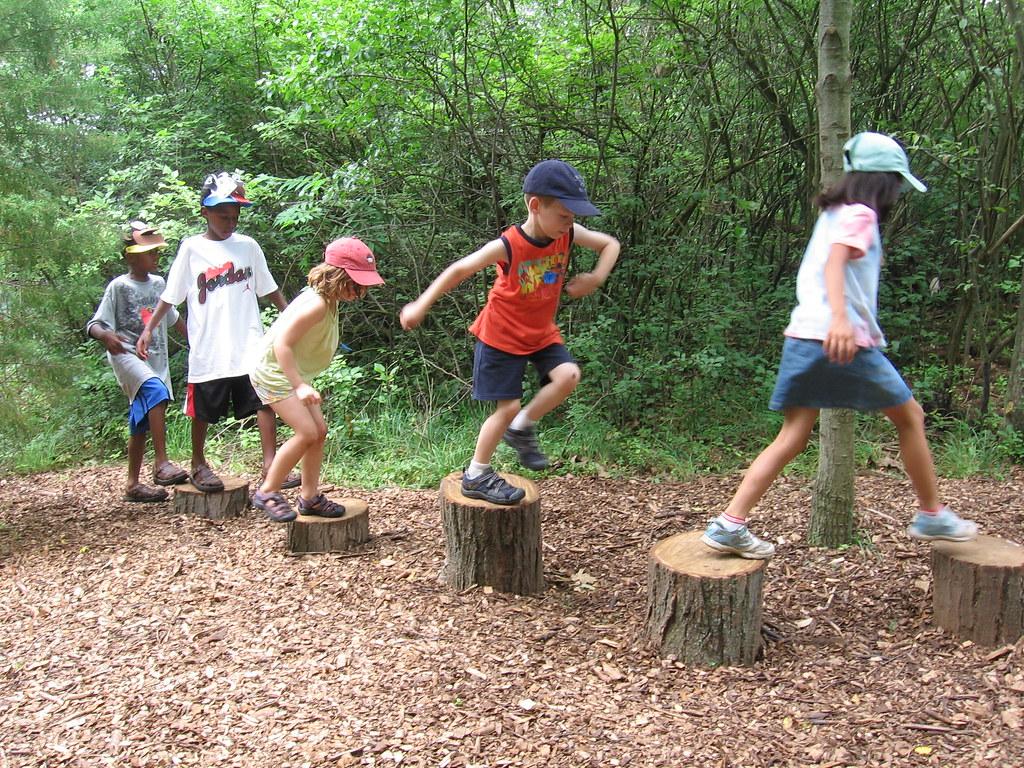 Kids Stepping on Stumps  Leslie Science  Nature Center
