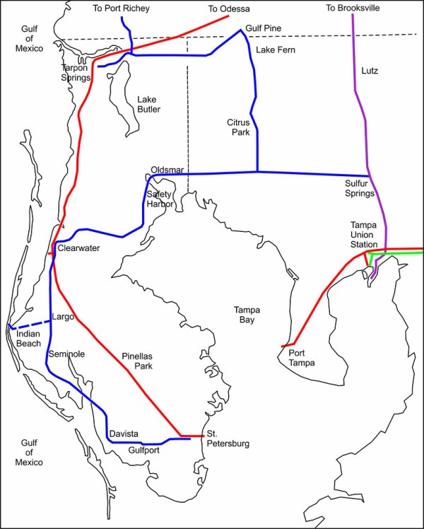 Simplified map of Tampa Bay area railroads in 1915 Flickr