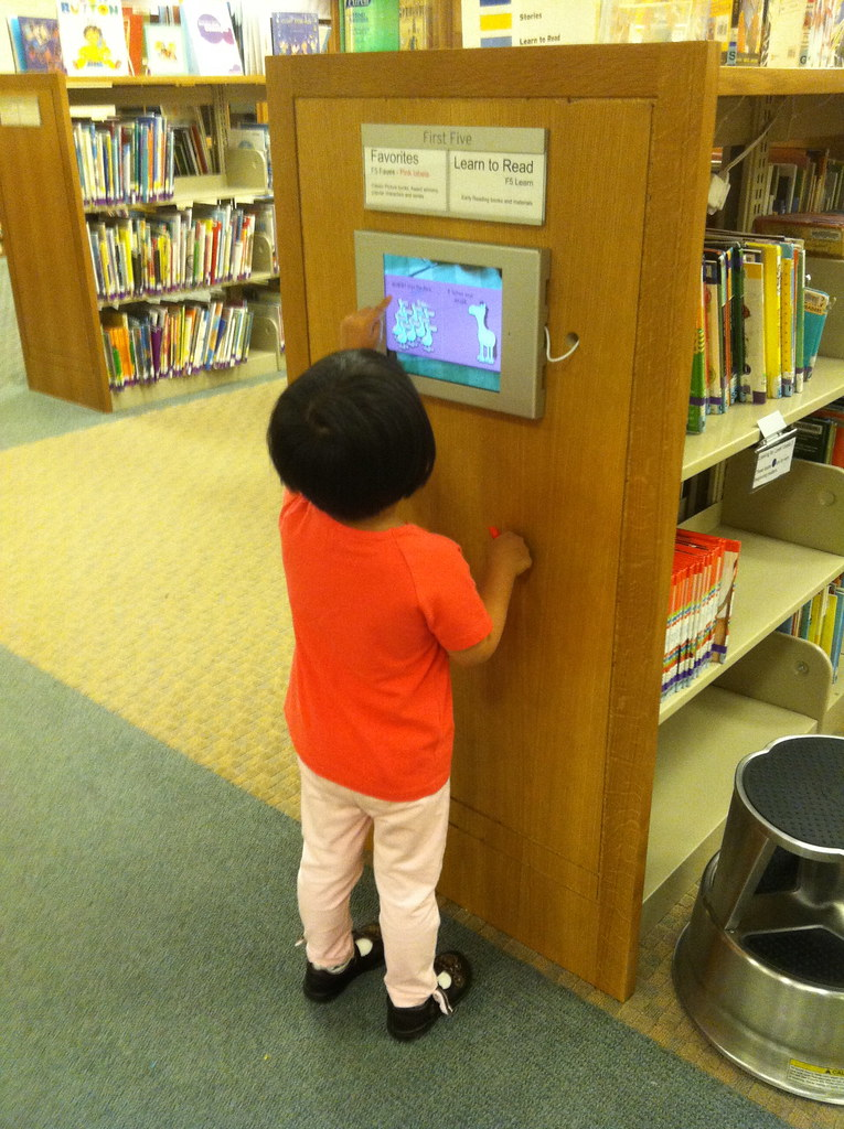 iPad mounted in the Childrens Library  Gretchen