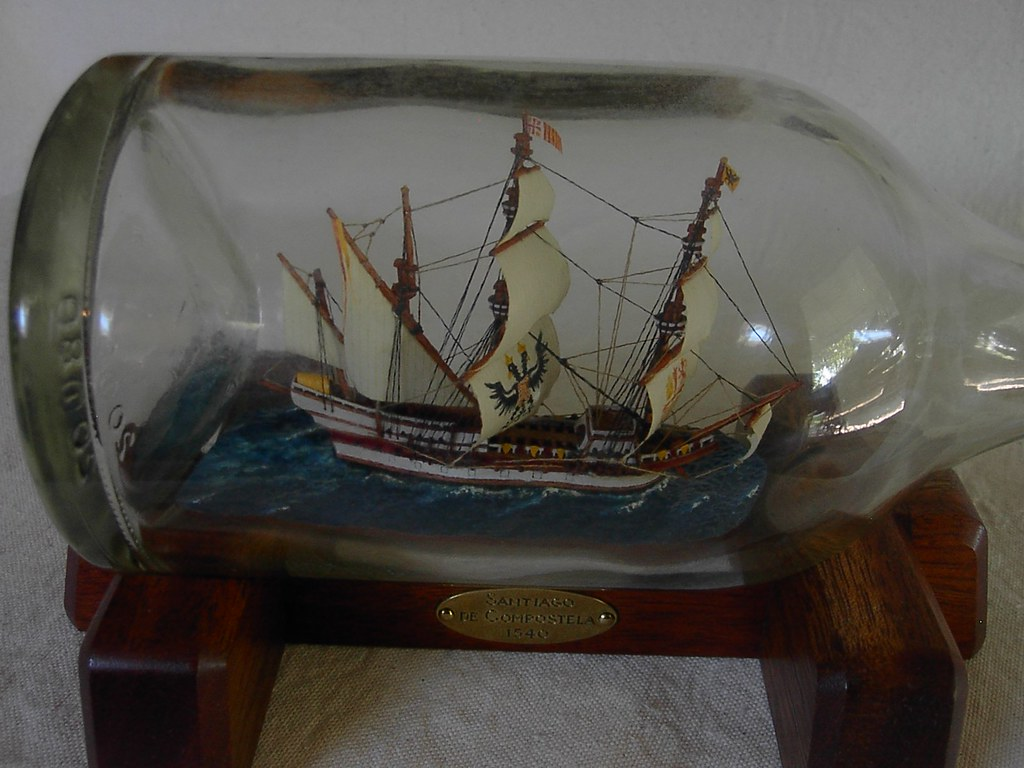 Santiago de Compostela ship in bottle  A Spanish galleon