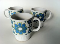 Mod Tea Cups with Blue and Green Flowers | Mid Century Mod ...