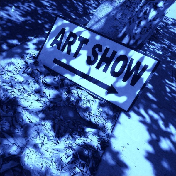 Art Show Sign Pointing Thumbprint