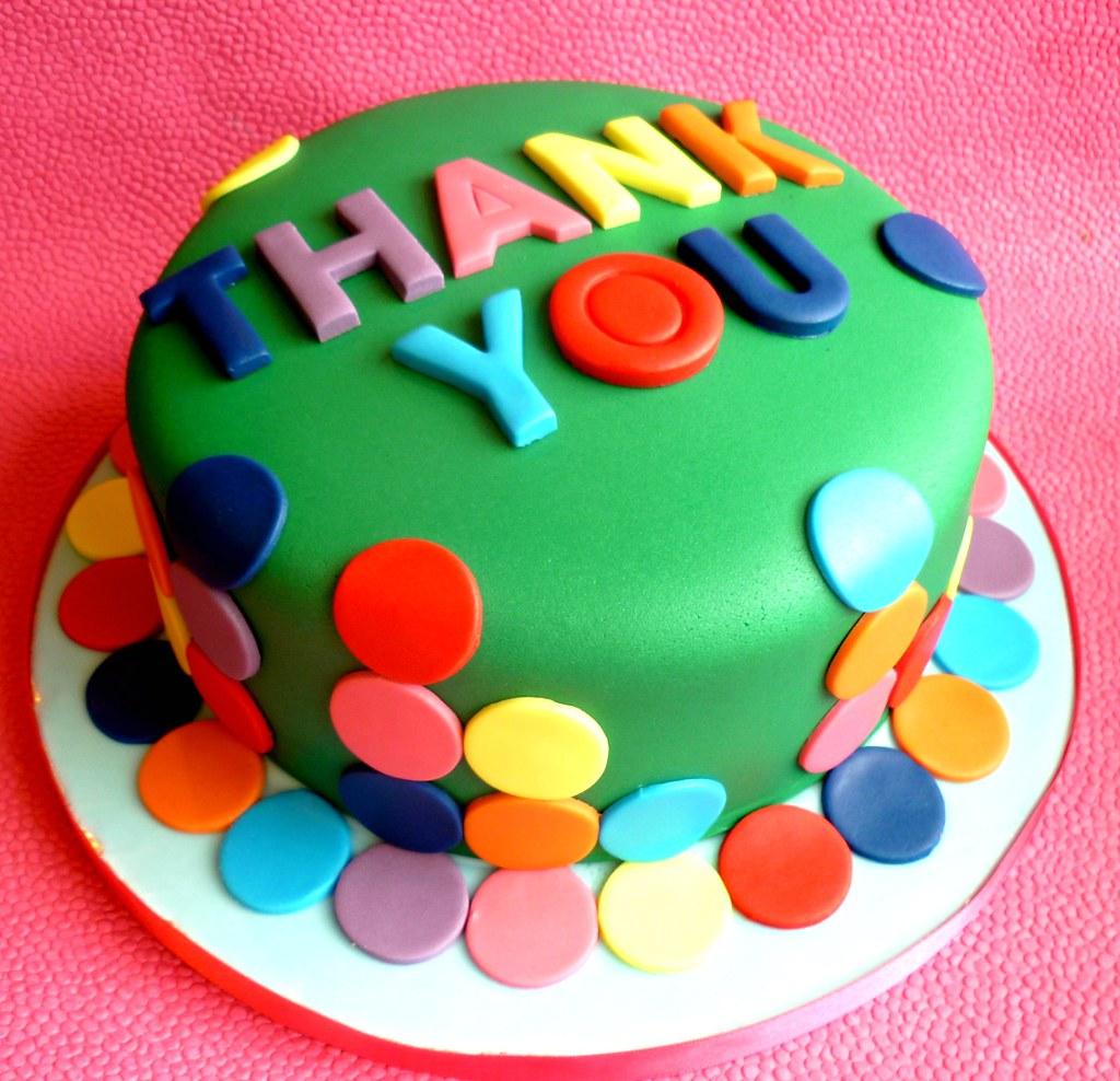 Bright Spotty Thank You Cake