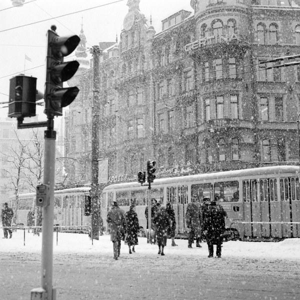 Stureplan Stockholm In Winter Of 1957