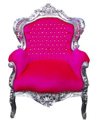 Vintage style shabby chic french hot pink throne chair ...