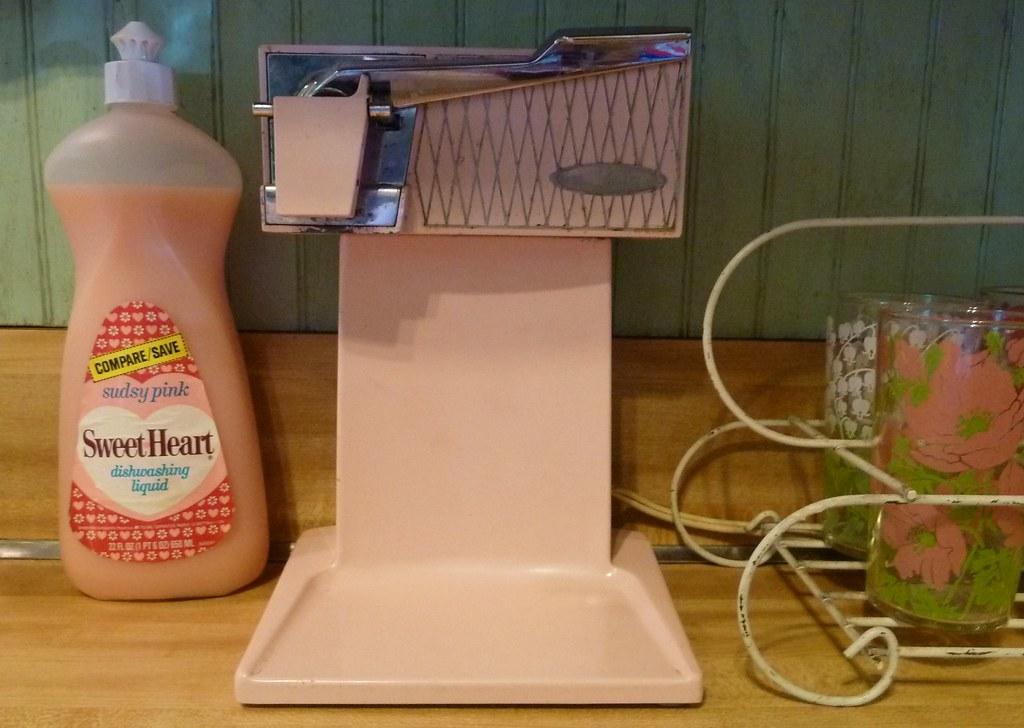 Vintage Pink Sunbeam Can Opener  I love that bottle of