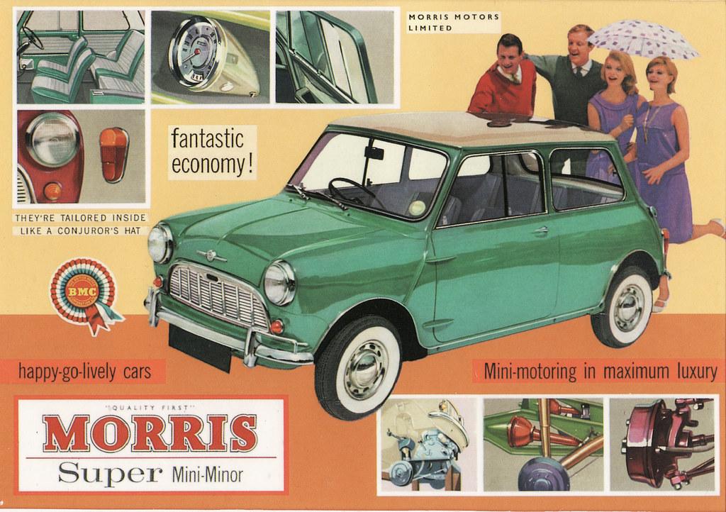 1961 Morris Super Mini Minor Ad England Covers The