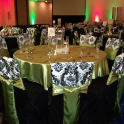 Green Chair Covers Flip Up Chairs Wedding Black And White Damask C