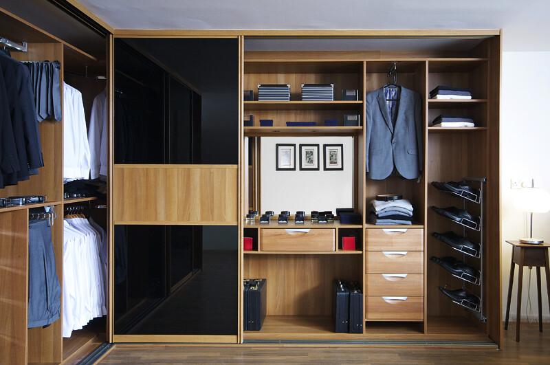 Sliderobes fitted sliding wardrobe black glass mans clothe