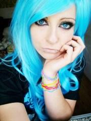 blue emo scene hair style bibi