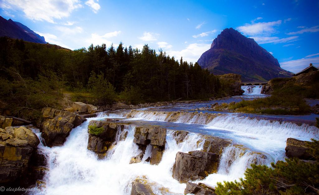 Falls Wallpaper Waterfall Swiftcurrent Falls Many Glacier Glacier National Park