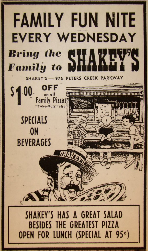 Shakeys Pizza Parlor Ad  1970  Ad for Shakeys Pizza