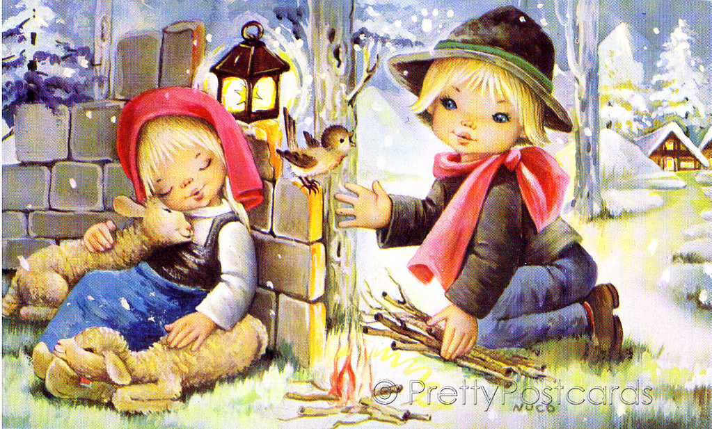 Vintage Christmas Card Of A Big Eyed Girl And Boy By