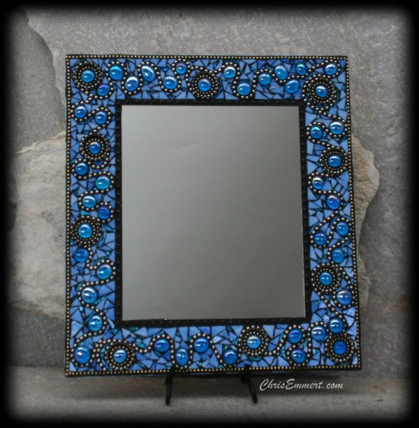 """ooh La La"" Mosaic Mirror In Blue Stained Glass"