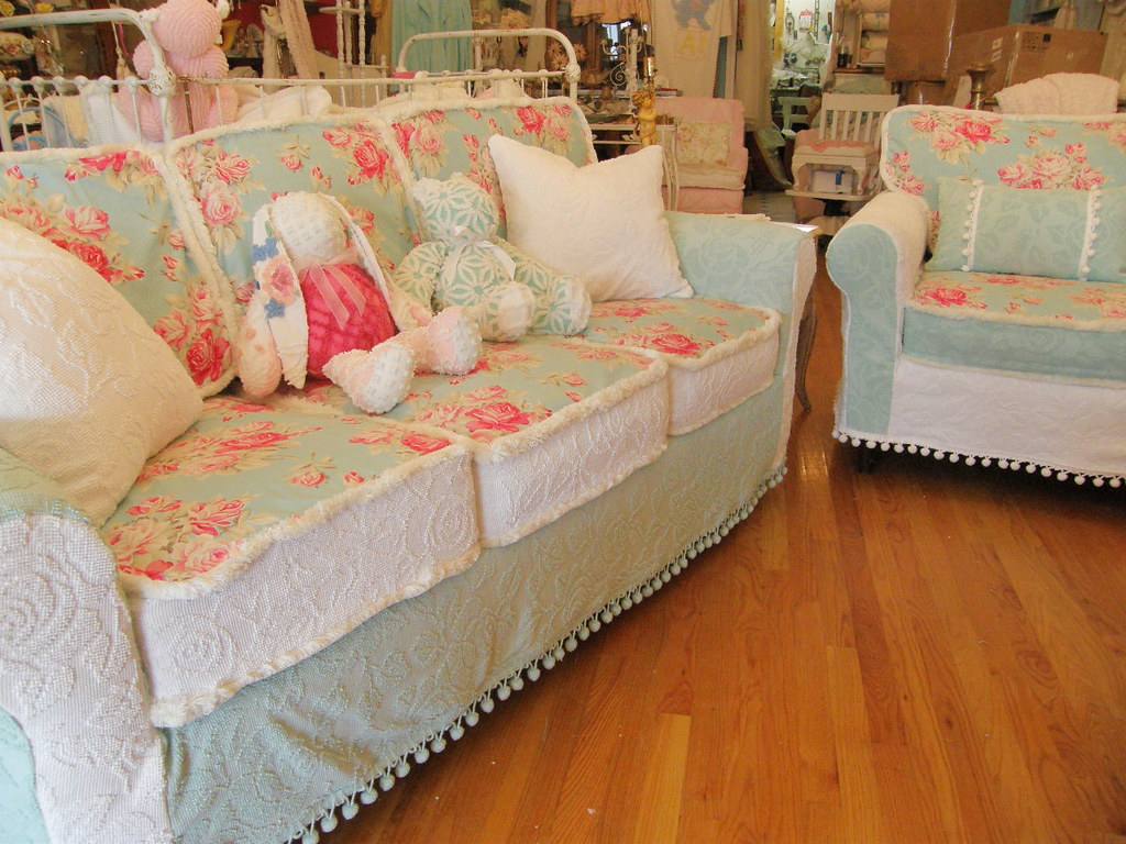 rose sofa slipcover source nanaimo aqua roses and chair chenille bedspread shabby chic s