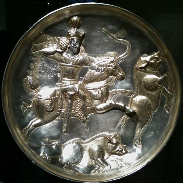 Sc Plate Silver Gilt 4th Century Ce Iran Sasanian Peri