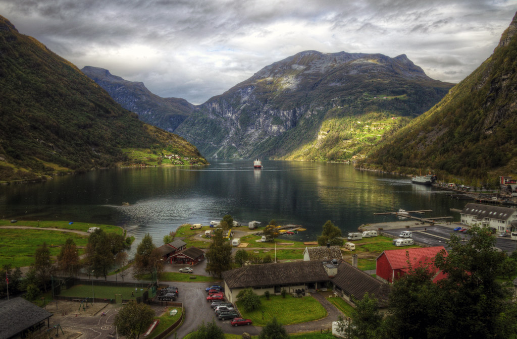 early autumn in norway  Geiranger the small town at the