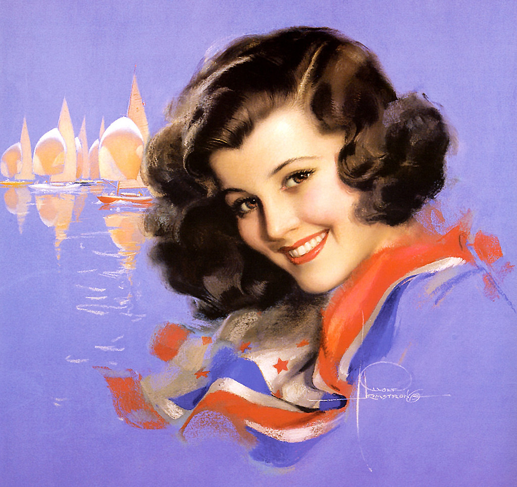 Rolf Armstrong  The model was Jewel Flowers who appeared