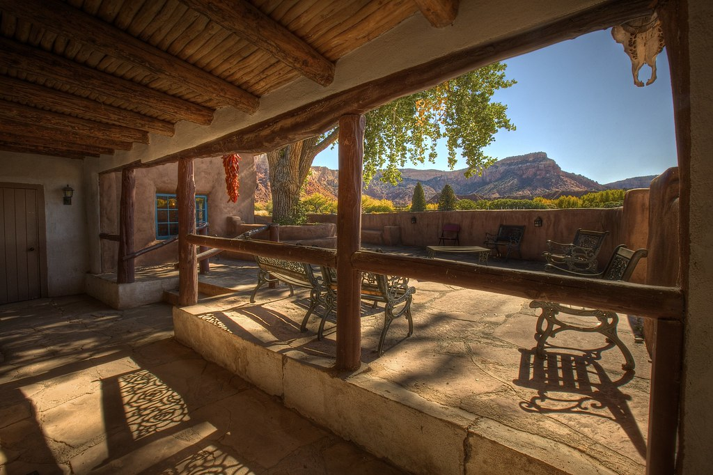 Ghost House Patio with Skull and Chilis at Ghost Ranch