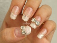 White pearl french tips with bows | My own nails Base gel ...