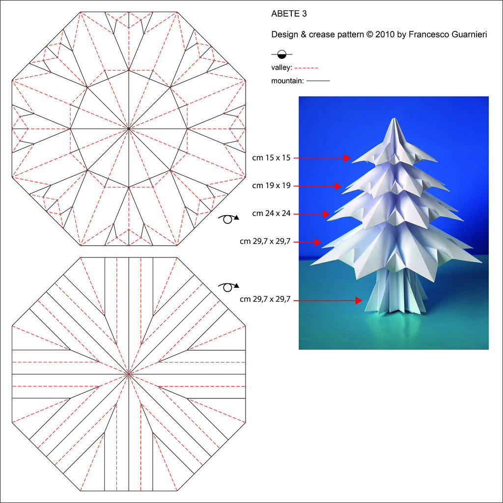christmas origami diagram narva spotlight relay wiring abete 3 fir tree crease pattern designed by