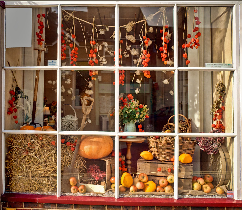An Autumn harvest theme for a display in a shop window at