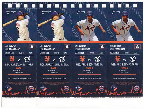 Unsevered page of tickets from 2014 New York Mets season t