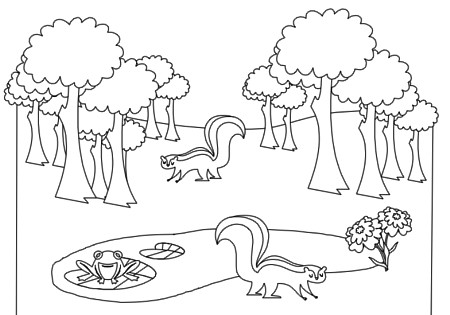 Forest Background Outline Clipart