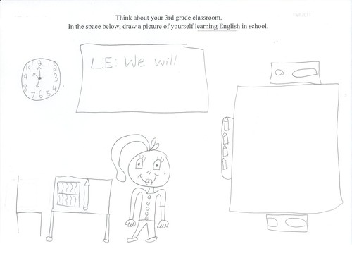 A 4th grade female student depicting herself standing in t