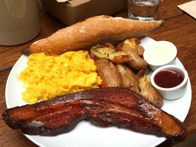 Regular Breakfast eggs any style, bacon steak, fingerling potatoes, warm baguette