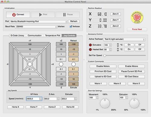 23 Simplify3D Machine Control Panel Jog controls