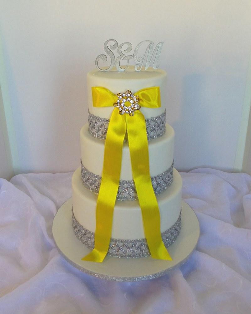 Yellow Silver And White Wedding Cake | Invitationsjdi.org