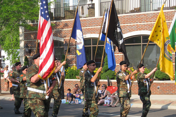 flag bearers lead the 2012 Plymouth Memorial Day parade