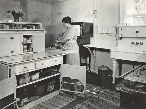 Woman in Farmhouse Kitchen 1923  Jimmys mothers house