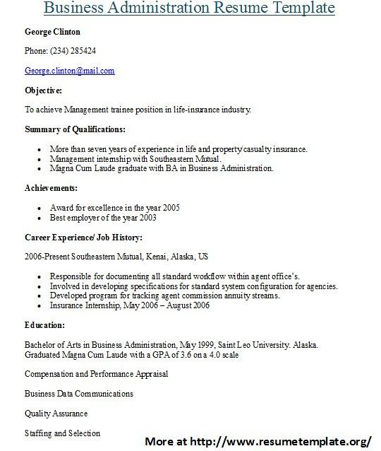 Sample Resume Business Administration