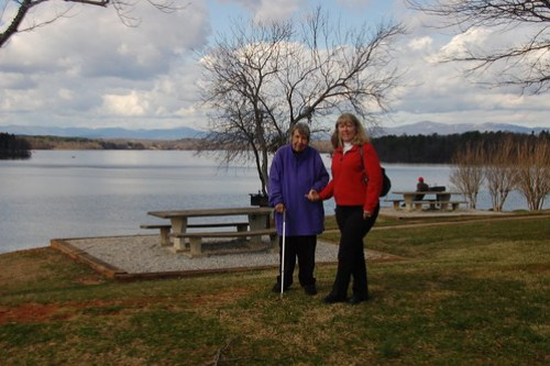 Laura and Mrs. Wright at Lake Robinson