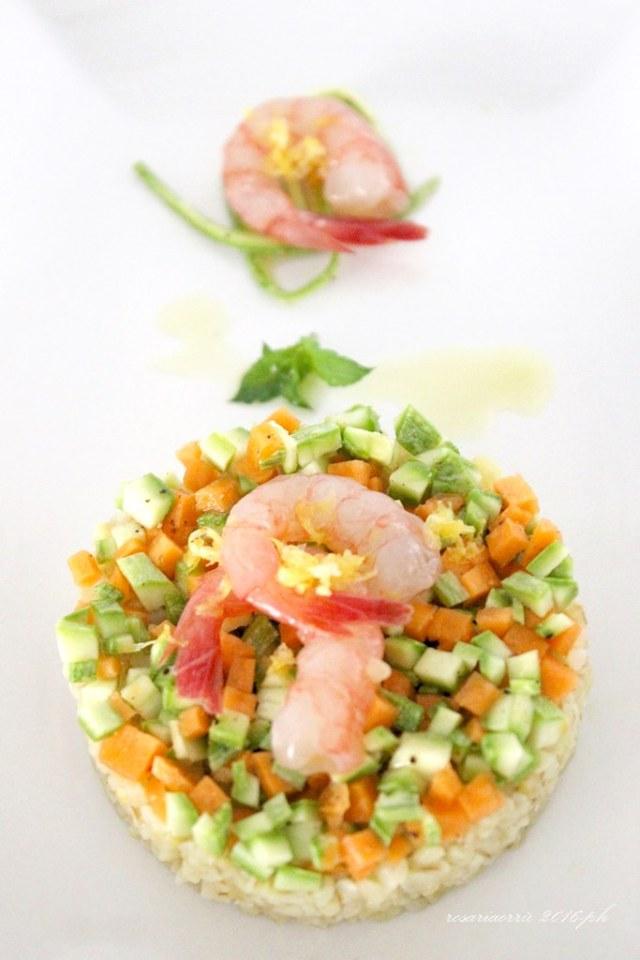 bulgur al limone verdure croccanti e gamebri marinati3