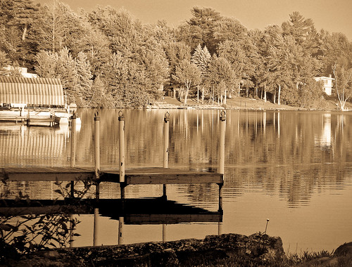 Shaded Dock With Reflections