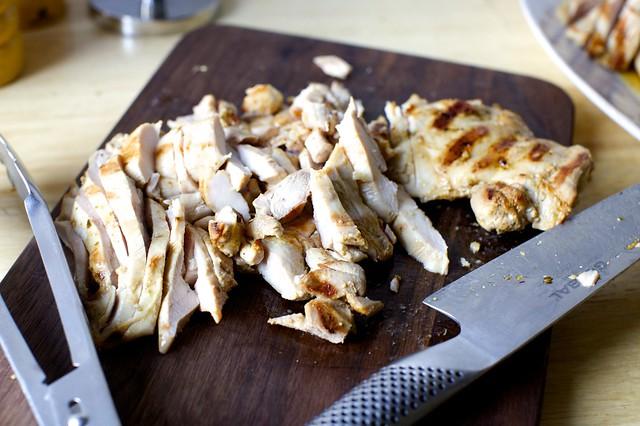 thinly slice chicken