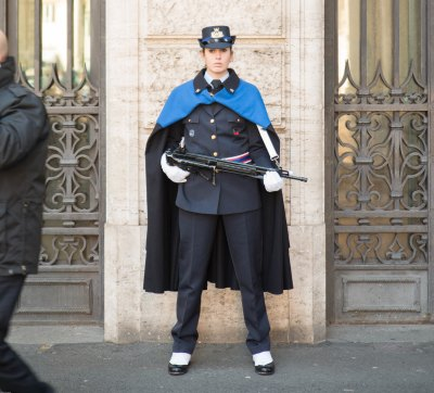 Italian Senate guard in a cloak