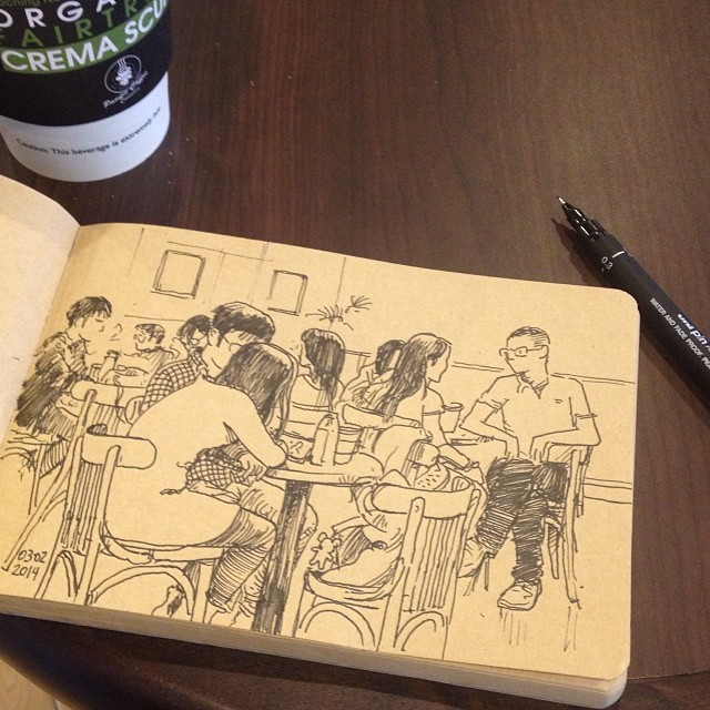 Coffe and doodle. #urbansketcher urbansketchers