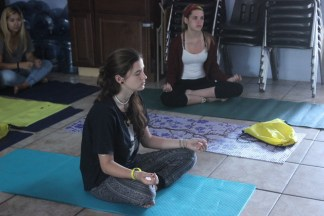 Teens during Yoga sober activities