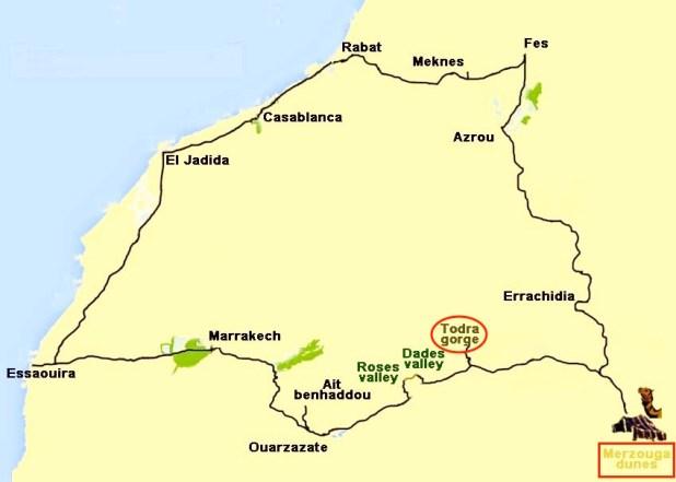 Mapa Garganta Dades y Merzouga