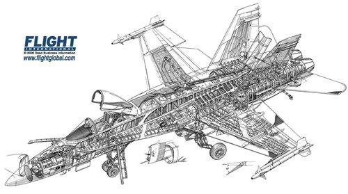 McDonnell Douglas F/A-18 Hornet Australian Cutaway Drawing