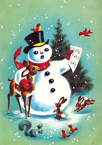Vintage Christmas Card Snowman And Forest Animals