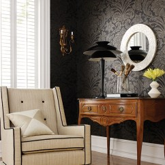 Black And Off White Living Room Ideas L Shape Sofa Hall Decorating Home Decor Wallpap Flickr Wallpaper Cream Fabric Upholstery Side Table Modern Damask