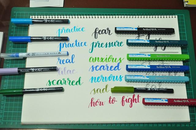 Watercolor and Brush Pen