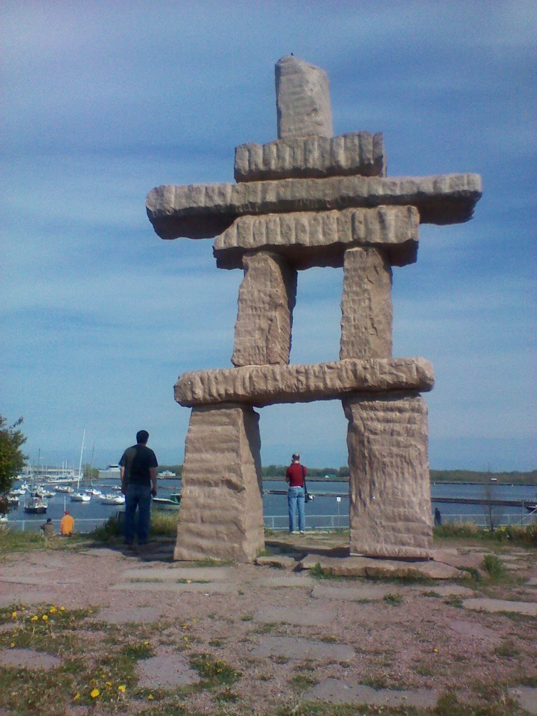 By the inukshuk Battery Park Toronto  Located in